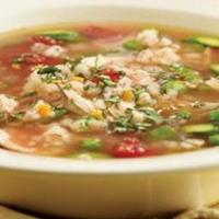 Весенний суп с курицей и перловкой