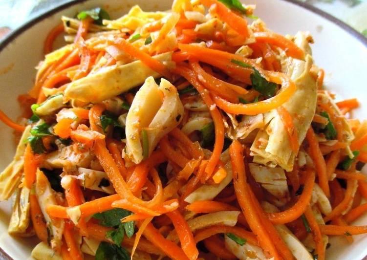 салат из кальмара с корейской морковкой в соевом соусе