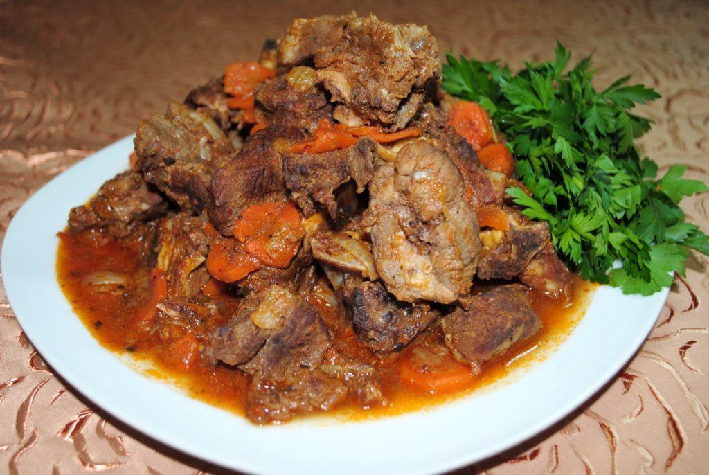 жареное мясо с редькой